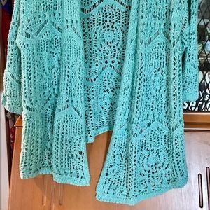Coldwater Creek Sweaters - Coldwater Creek Open Crochet Cardigan